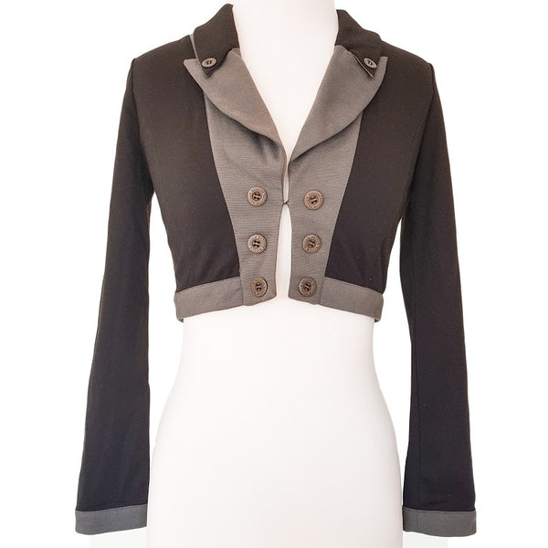 FREE FUSION Black & Grey Cropped Top Blazer - 1000 Things Australia