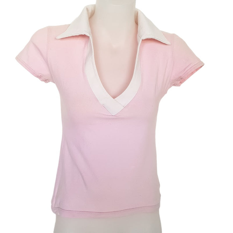 GLASSONS Pink & White Collared Blouse - 1000 Things Australia