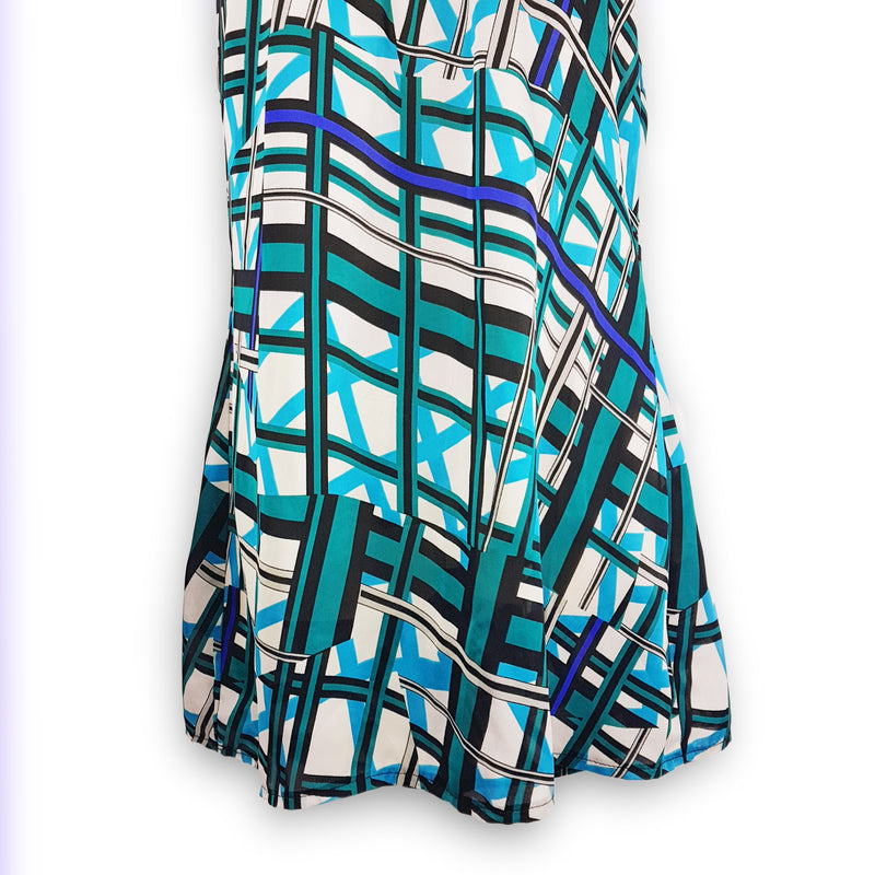 COOPER ST Blue White Black Womens Blouse Sexy Geometric Printed Ladies Woven Top - 1000 Things Australia