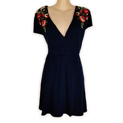 ZARA KNIT Navy Blue A-Line Women's Wrap Dress Embroidered Floral Red Deep V-Neck