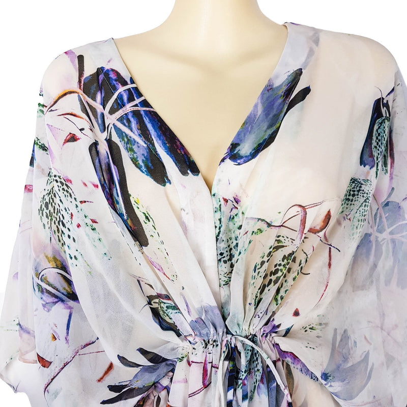 PORTMANS White Women's Swimsuit Cover-up Ladies' Pull String Floral Beach Wear - 1000 Things Australia
