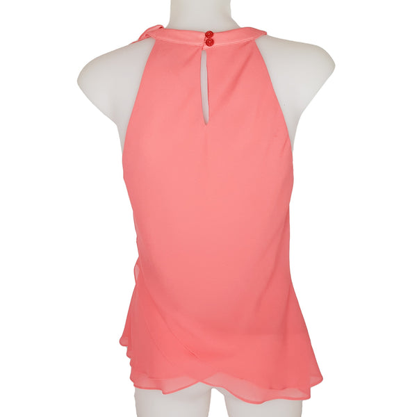 LOVERS Peach Pink Halter Neck Ruffle Women's Sleeveless Blouse - 1000 Things Australia