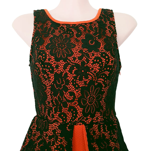 SAINT SHYLO Orange Black Floral Lace Sleeveless Peplum Cocktail Dress