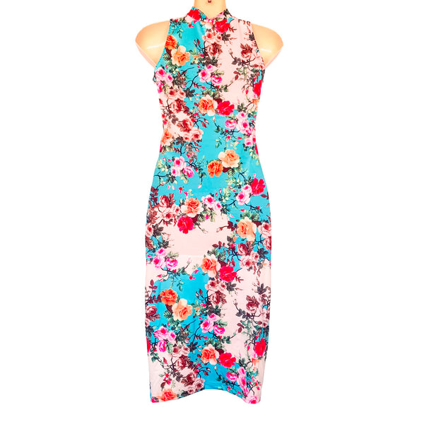 Sexy Multi-Coloured Floral Print High Neck Sleeveless Women's Bodycon Midi Dress