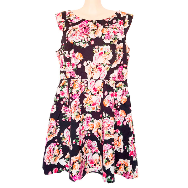 PORTMANS Black Floral Print Sleeveless Women's Fit & Flare Pleated Dress Zip Fly