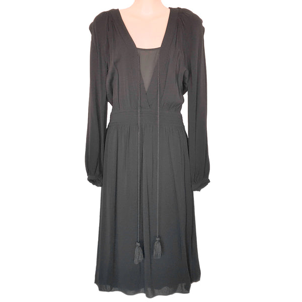 WITCHERY Black Long Sleeve Women's Sheath Midi Party Dress Drawstring V-Neckline