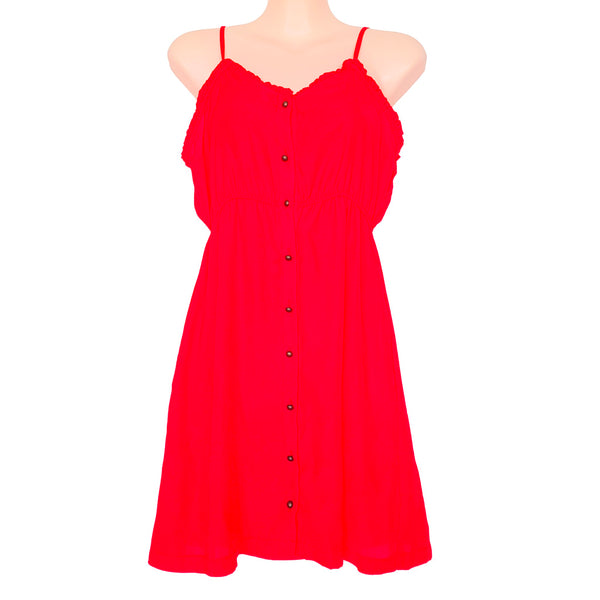 TEMT Summer Red Spaghetti Strap Button Down Women's Sundress Sweetheart Neckline