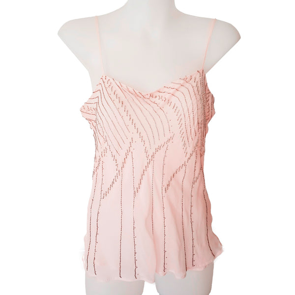PORTMANS Silk Pink Beaded Spaghetti Strap Women's Cami Tank Top V-Neck Size 10