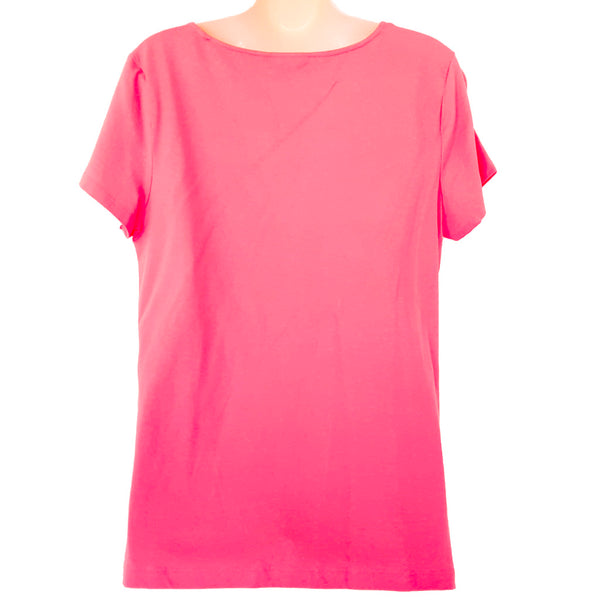 TOMMY HILFIGER Casual Peach Pink Short Sleeve Women's Blouse Top Boat Neck Shirt