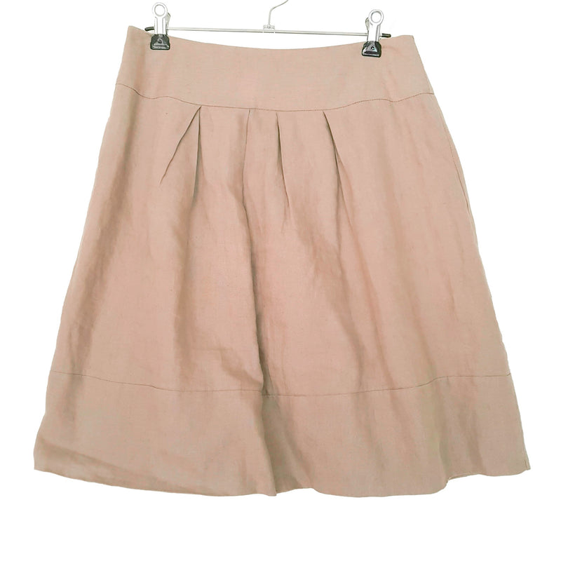 CUE Casual Khaki Semi Pleated Mid Rise Women's Mini A-Line Skirt Zip Fly Size 8