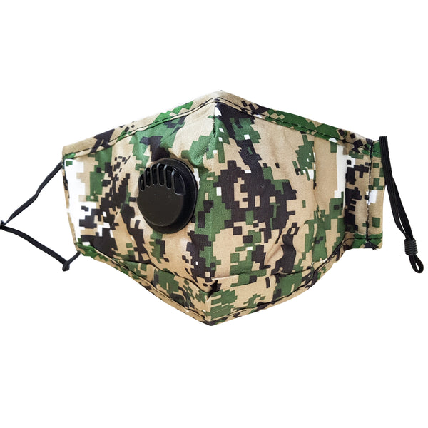 Fabric Reusable Cotton Face Mask with Valve & Filter Panel - Camouflage