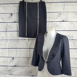Sz 10 M 12 L REVIEW 2-Piece Dark Grey Jacket Skirt Suit Corporate Business Work - 1000 Things Australia