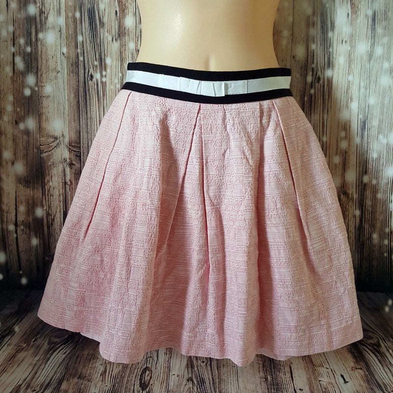 Sz 8 S CUE 100% Cotton Women's Pink Pleated Skirt Made in Australia Fabric Italy - 1000 Things Australia