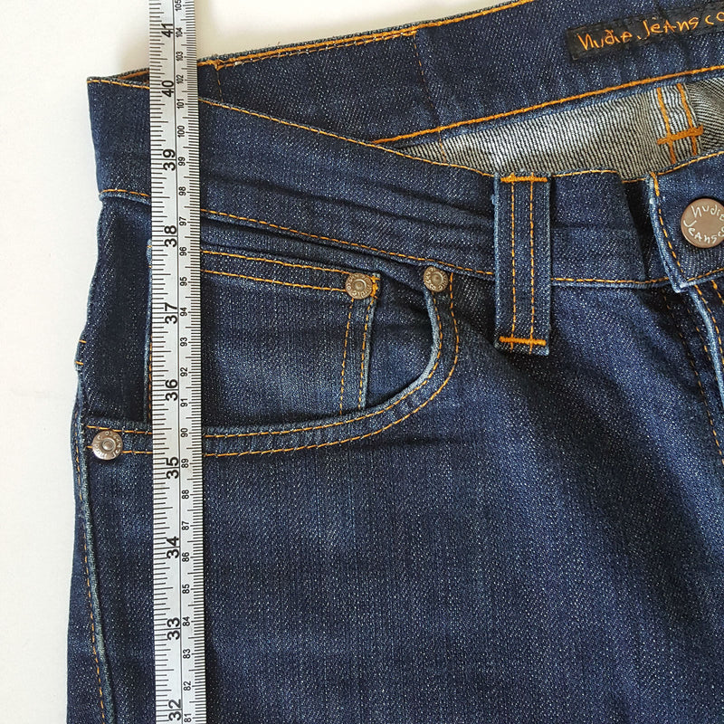 Sz W31 L32 NUDIE JEANS Thin Finn Men's Cotton Denim Blue Dark Indigo Made Italy - 1000 Things Australia