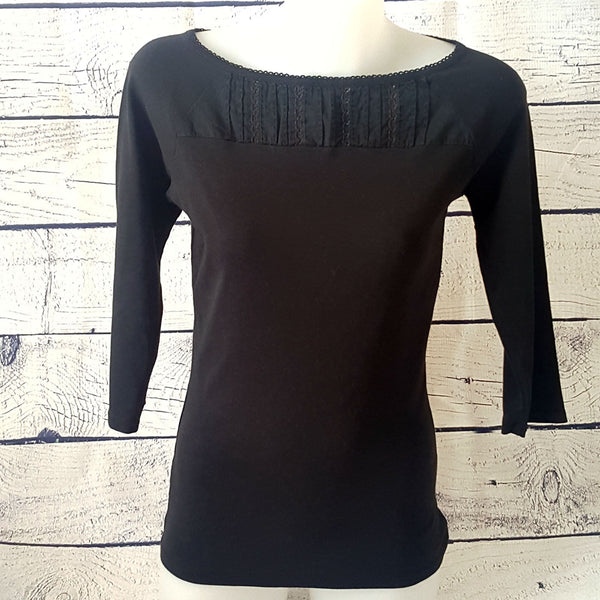 Sz 10 M DAVID LAWRENCE Women's Black 3/4 Sleeve 100% Cotton Boat Neck Knit Top - 1000 Things Australia