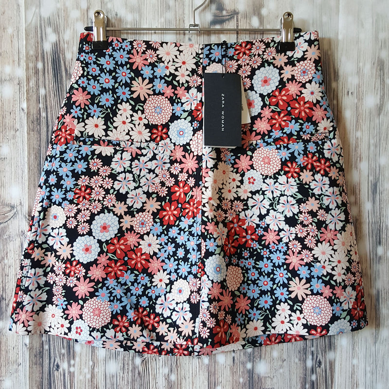 Sz S 8 ZARA WOMAN Women's Floral Black Blue Pink White Red Flowers Skirt NEW NWT - 1000 Things Australia