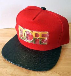 DOPE Red Black Gold Adjustable Snapback Cap - 1000 Things Australia