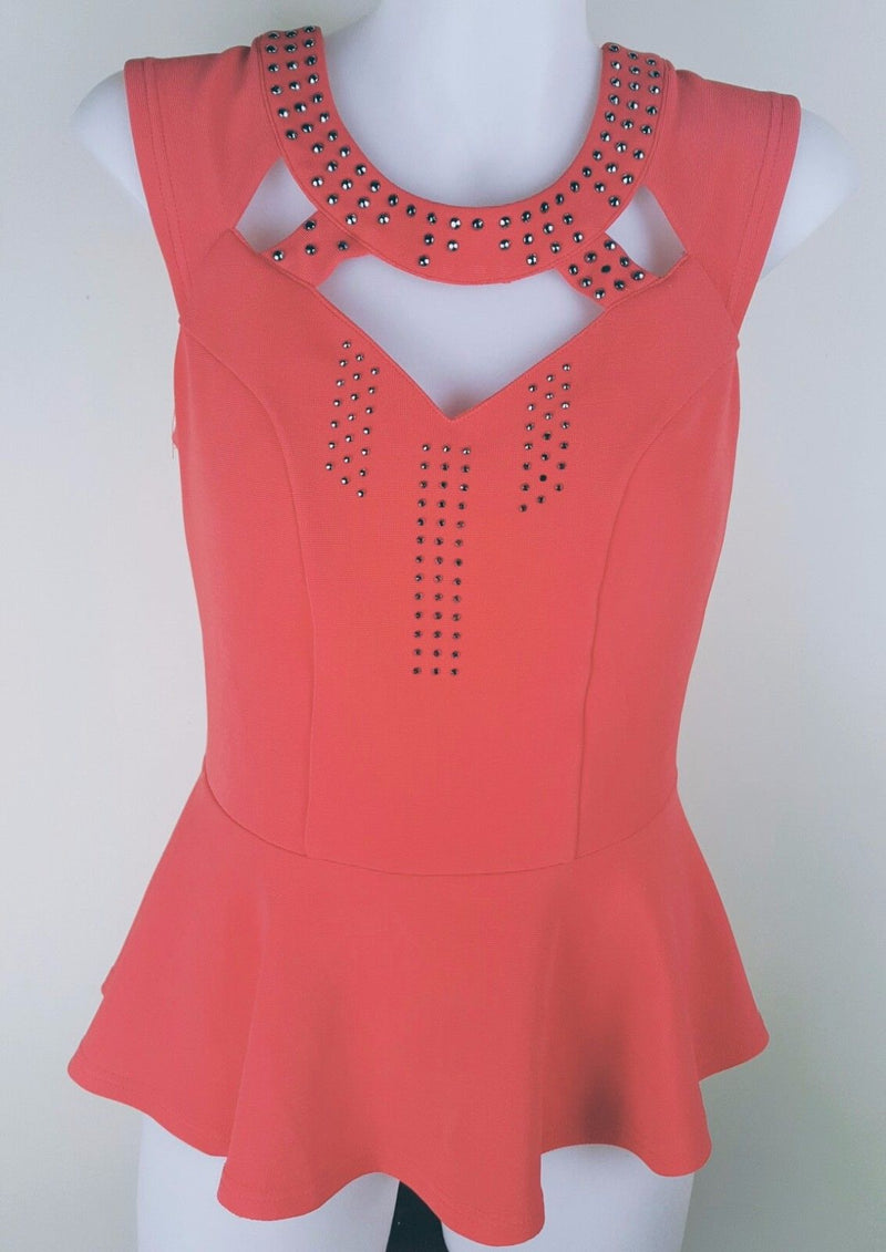 Sz 8 Small TEMT Salmon Pink Cut Out Short Sleeve Work Office Wear Top Women's S - 1000 Things Australia
