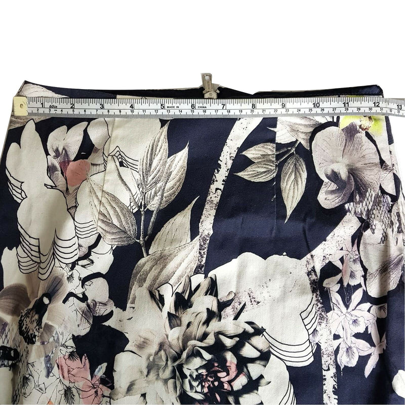 PORTMANS Women's White Navy Floral Fitted Pencil Straight Skirt Double Zipper - 1000 Things Australia