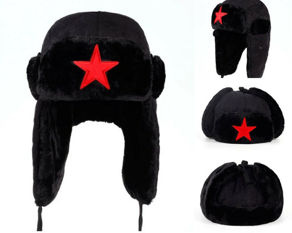 Red Star Black Bomber Hat Outdoor Winter Russian Ear Flap Warm Casual Ushanka - 1000 Things Australia