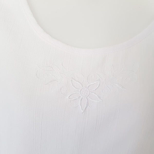 RISQ White Sleeveless Floral Tank Top - 1000 Things Australia