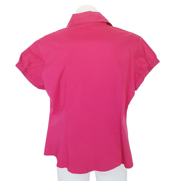 CUE IN THE CITY Women's Hot Pink Short Sleeves Collared Shirt Work Office Blouse - 1000 Things Australia