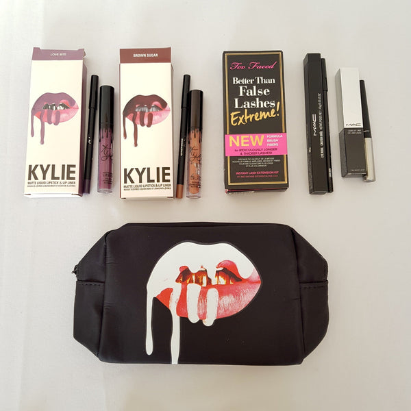 6pc Mixed Makeup Set 11: Purple Brown Lip Gloss Black Mascara Liquid Pencil Eyeliner Cosmetics Bag - 1000 Things Australia