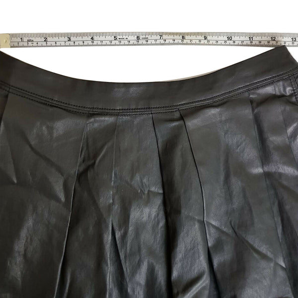 COUNTRY ROAD Women's Black Leatherette Leather-Look Pleated Skater Casual Skirt - 1000 Things Australia