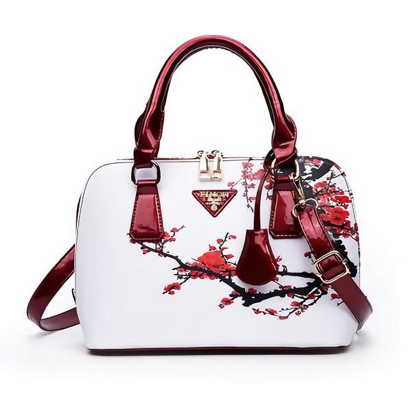 Floral White & Red Cherry Blossom Satchel Bag