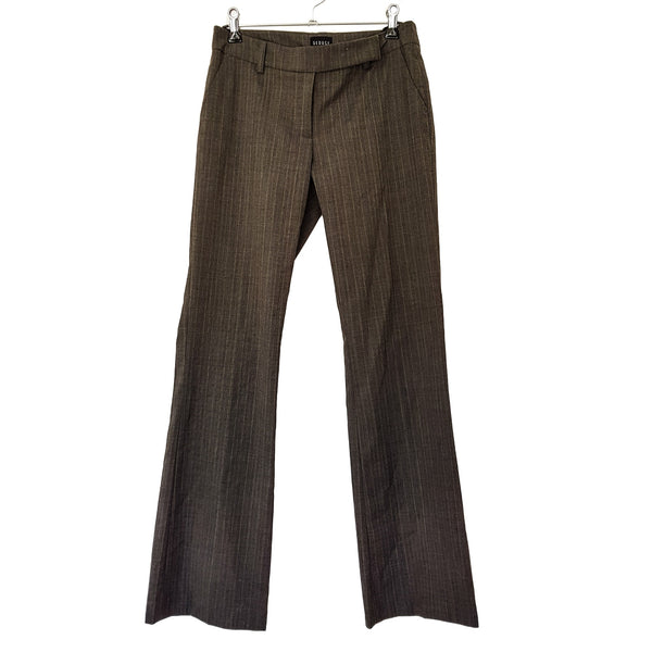 SEDUCE Women's Grey Pinstripe Wool Work Pants Trousers Slacks Pleated Zip Belt