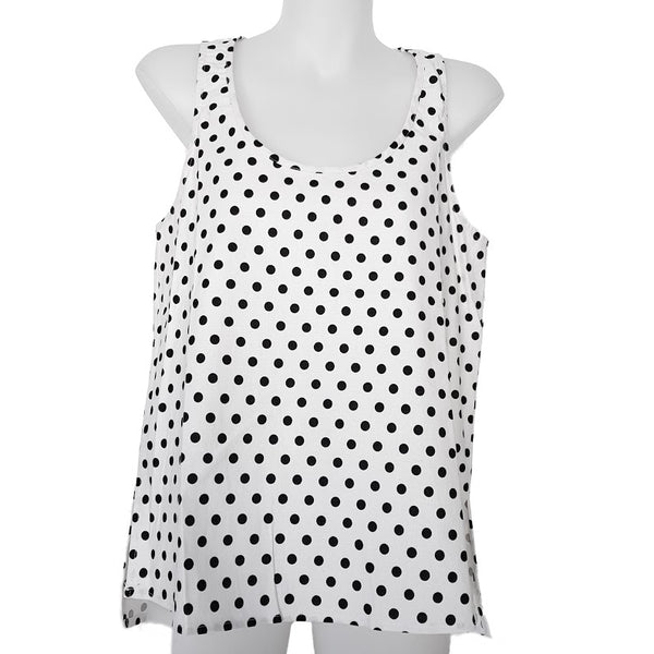 SUNNY GIRL White & Black Sleeveless Blouse - 1000 Things Australia