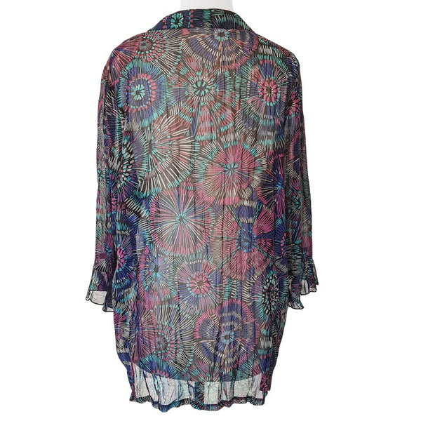 Target Peacock Abstract 3/4 Sleeves Top - 1000 Things Australia