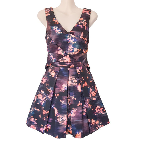 ALANNAH HILL Like A Perfect Posy Dress Silk Purple Pink Black Sleeveless Cutout