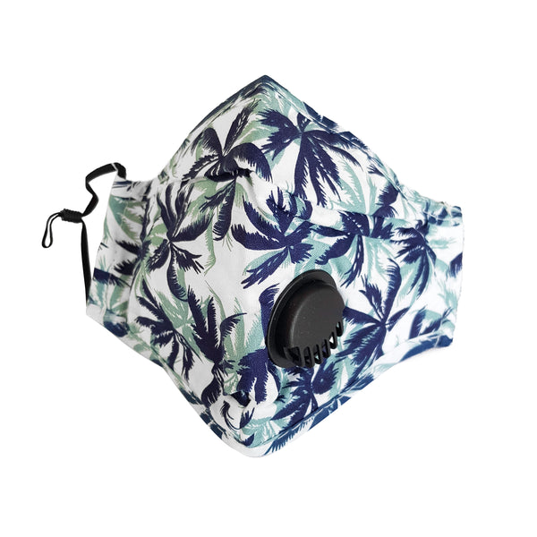 Fabric Reusable Cotton Face Mask with Valve & Filter Panel - Tropical - 1000 Things Australia