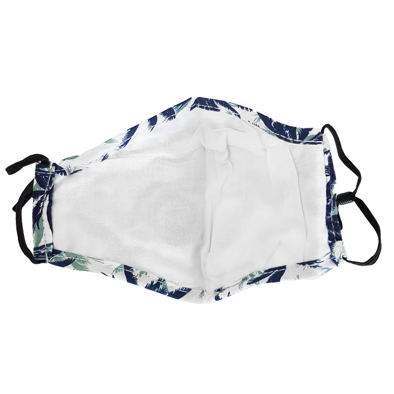 Fabric Reusable Cotton Face Mask with Valve & Filter Panel - Tropical