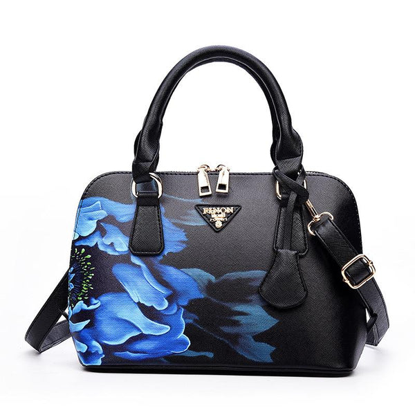 Chiq Boutique - Luxury Black & Blue Floral Designer Handbag |  1000-things-australia.