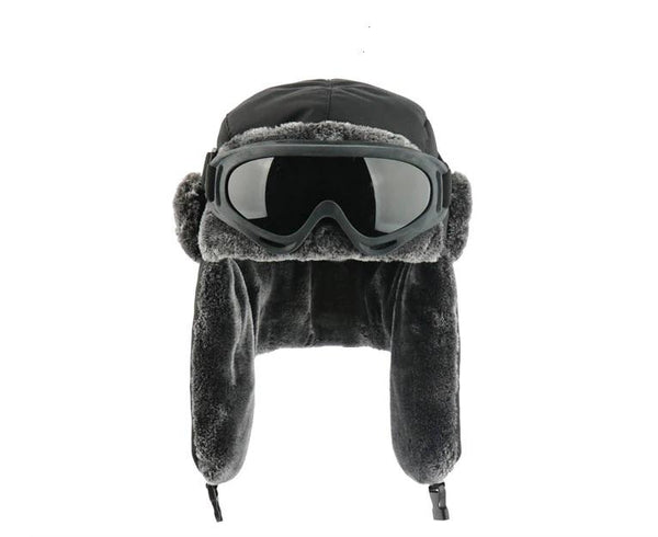 Black Bomber Hat With Goggles Men Women Waterproof Windproof Ushanka Winter Cap - 1000 Things Australia