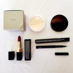 3pc Mixed Makeup Set 58:  Red Lipstick Translucent Loose Setting Powder Penultimate Black Eyeliner - 1000 Things Australia