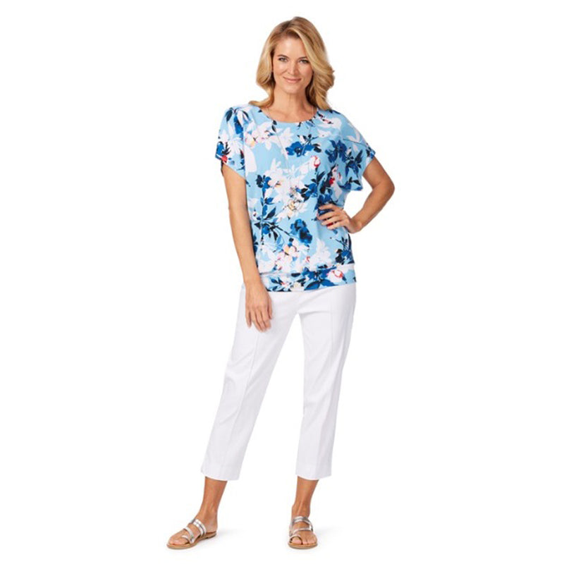 NONI B Cyan Blue Francis Floral White Blouse - 1000 Things Australia