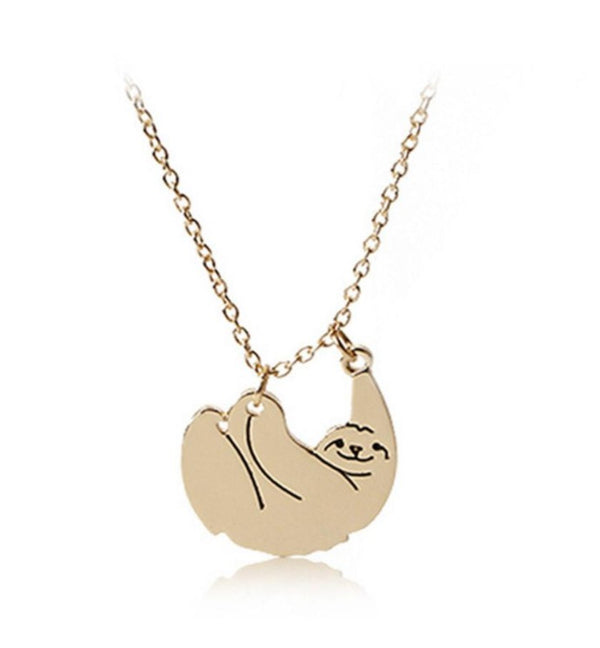 18K Gold Plated Sloth Animal Pendant Necklace