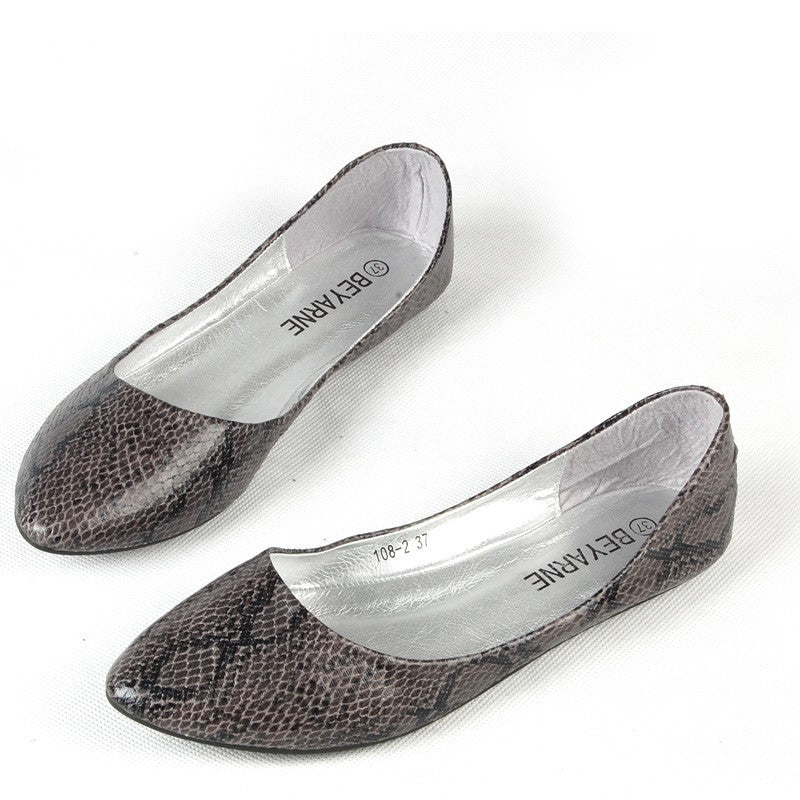 Grey & Black Snakeskin Flats Shoes - 1000 Things Australia