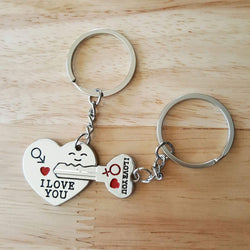 """I Love You"" Silver Couple Key Chain - 1000 Things Australia"