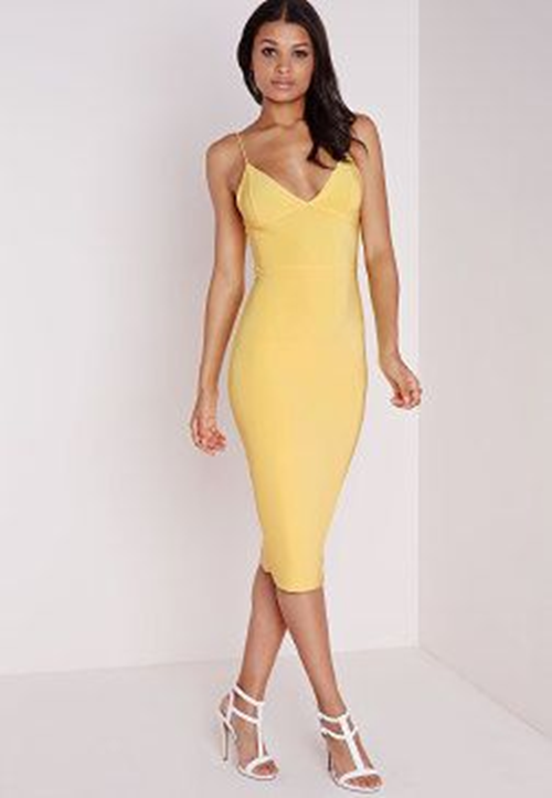MISSGUIDED Slinky Strappy Midi Dress Lemon Women's Yellow Bodycon Cocktail Party