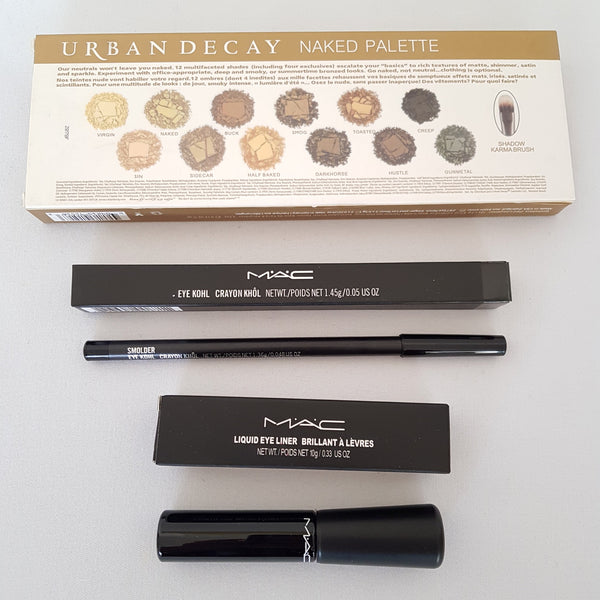 3pc Mixed Makeup Set 38: NAKED Eyeshadow Palette Black Waterproof Liquid Pencil Eyeliner - 1000 Things Australia