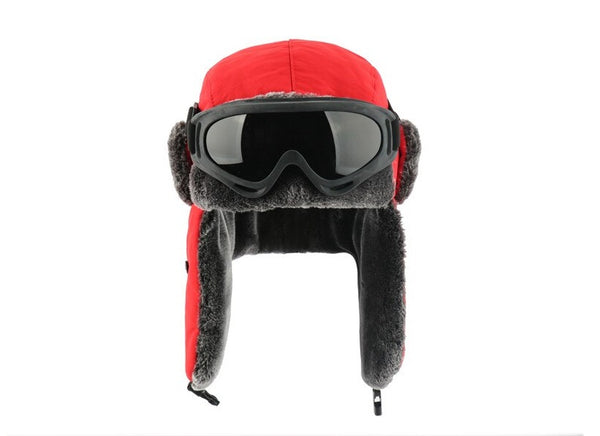Red Bomber Hat Cossack Goggles Men Women Waterproof Windproof Ushanka Winter Cap - 1000 Things Australia