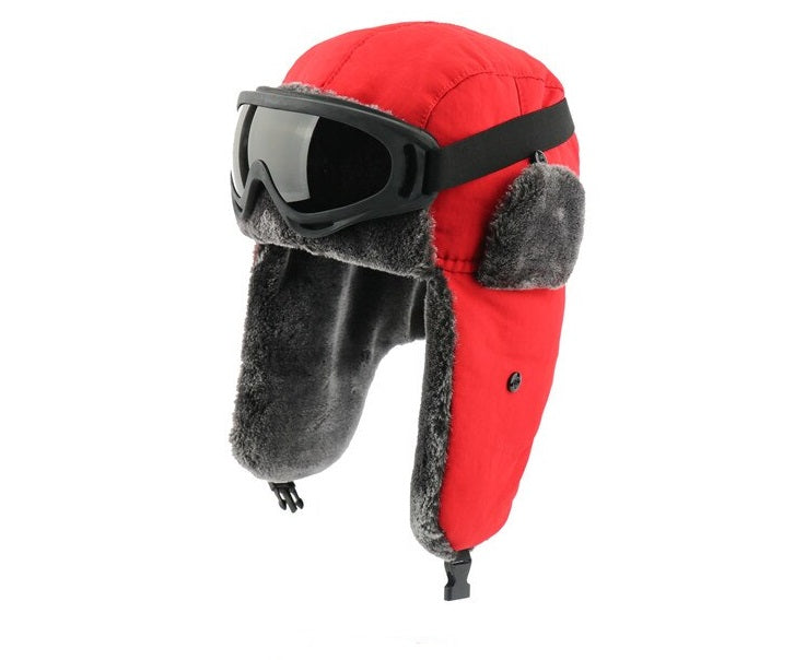 Red Bomber Hat Cossack Goggles Men Women Waterproof Windproof Ushanka Winter Cap
