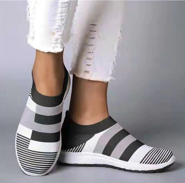 Women's Black Grey White Knit Slip On Shoes