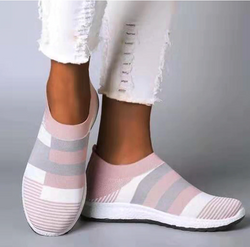 Women's Pink Grey White Knit Slip On Shoes