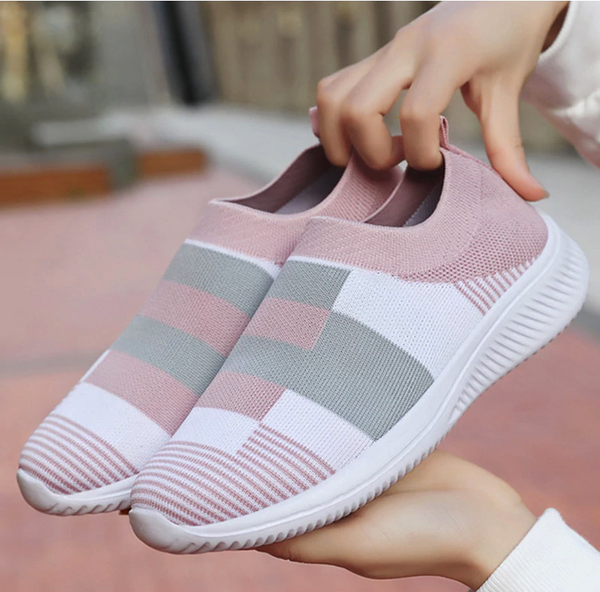 Women's Pink Grey White Knit Slip On Shoes - 1000 Things Australia