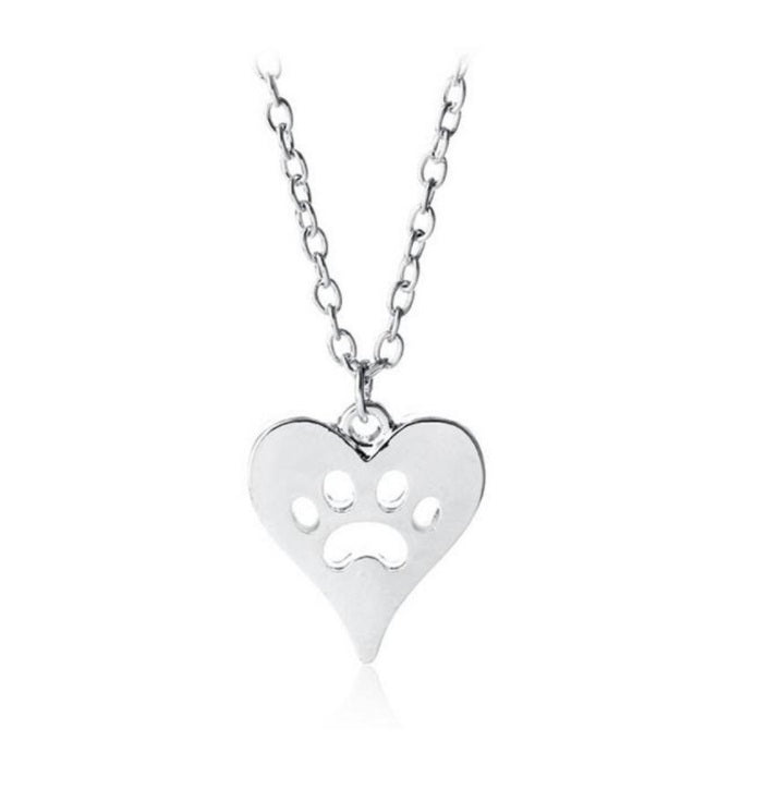 DOG PAW 18K GOLD SILVER Hollow Heart Pendant Necklace Fashion Jewellery